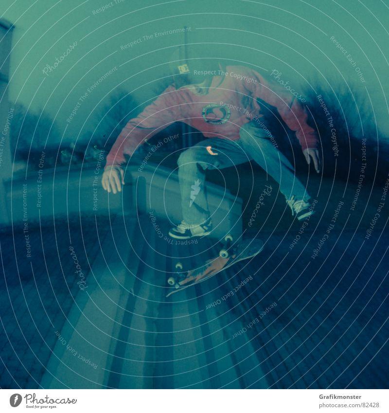 Backside Kickflip Stimmung Treppe Skateboarding Skateboard seltsam Ambiente Flair Extremsport Kickflip