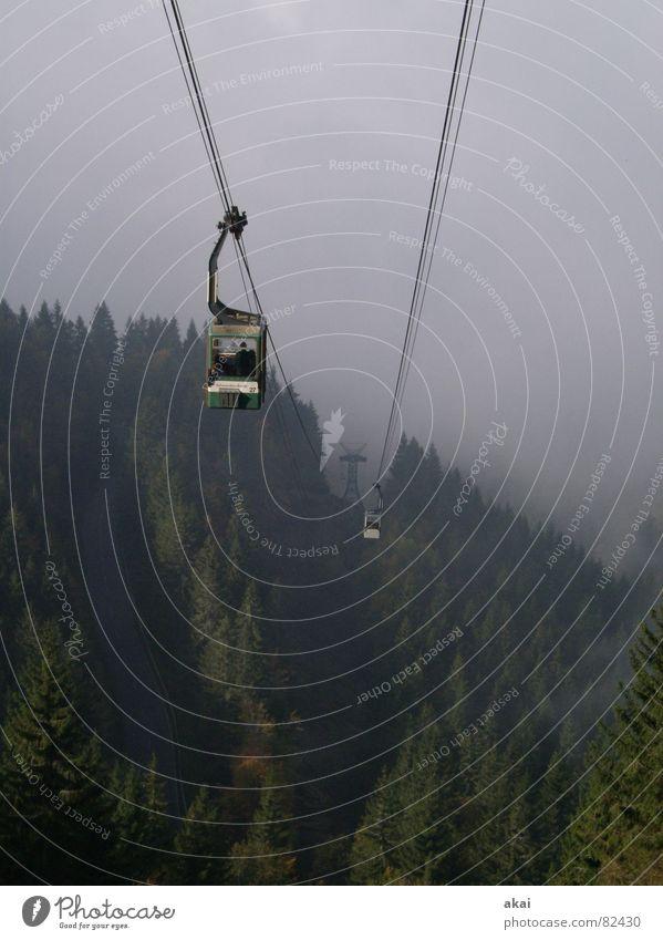 Schauinslandbahn Nordic Walking unklar Seilbahn Nebel fantastisch Nebelschleier schemenhaft Gleitschirmfliegen wandern beeindruckend Schleier Himmel Luftverkehr