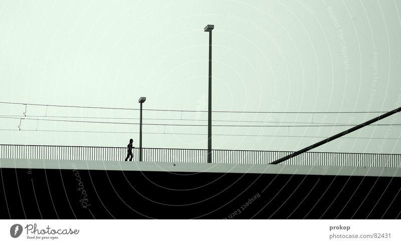 Scherenschnitt Teil 3 Fairness unsozial Einsamkeit Geometrie Lampe schwarz Verkehr Straßenverkehr trist Menschenleer Brückenpfeiler Linie abgelegen desolat