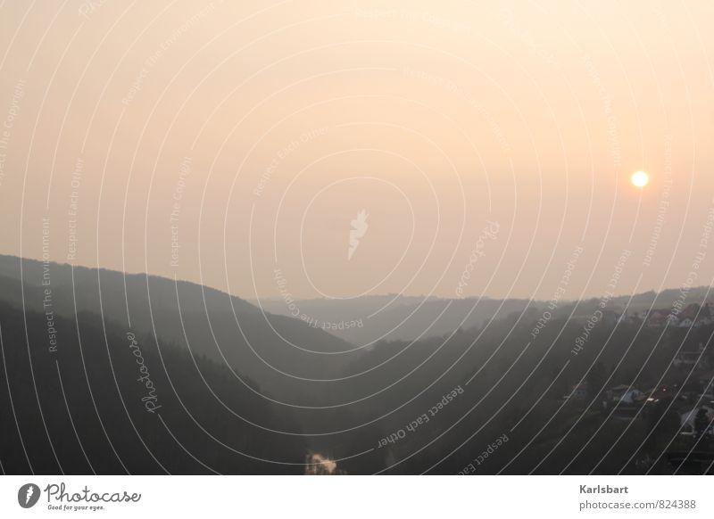Morgen Abend. Himmel Natur Ferien & Urlaub & Reisen Sommer Haus Ferne Wald Berge u. Gebirge Umwelt Frühling Herbst Deutschland Horizont Tourismus Nebel Aussicht