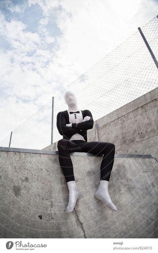 Anzug Mensch Jugendliche Mann 18-30 Jahre Erwachsene außergewöhnlich maskulin sitzen Bekleidung Anzug anonym Kostüm androgyn