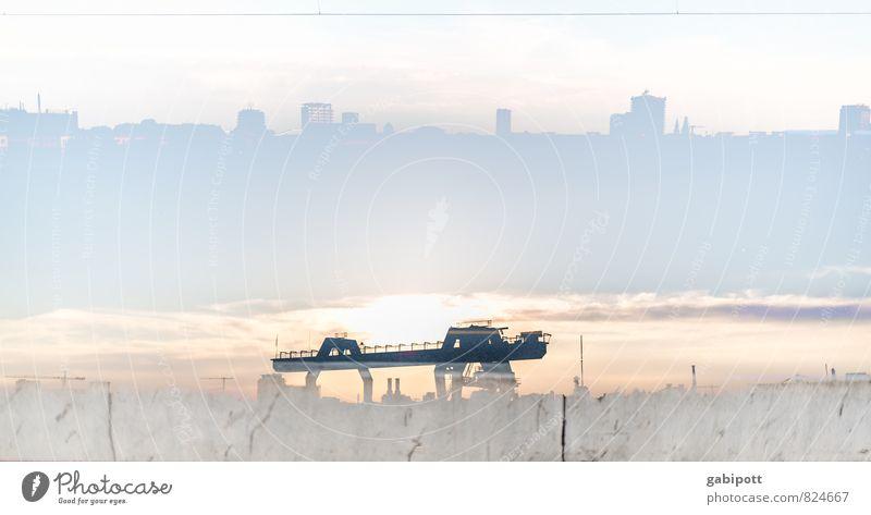 Doppelhafen Schönes Wetter Mannheim Stadt Skyline Hafen Brücke Hochstraße Kran blau Lebensfreude Leichtigkeit Industriegelände Doppelbelichtung Sommer Farbfoto