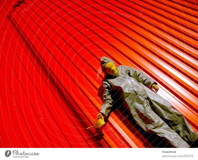 grau™ - schräg rot Freude gelb Lampe Wand Kunst lustig verrückt Rasen Maske Anzug Laterne dumm diagonal Surrealismus
