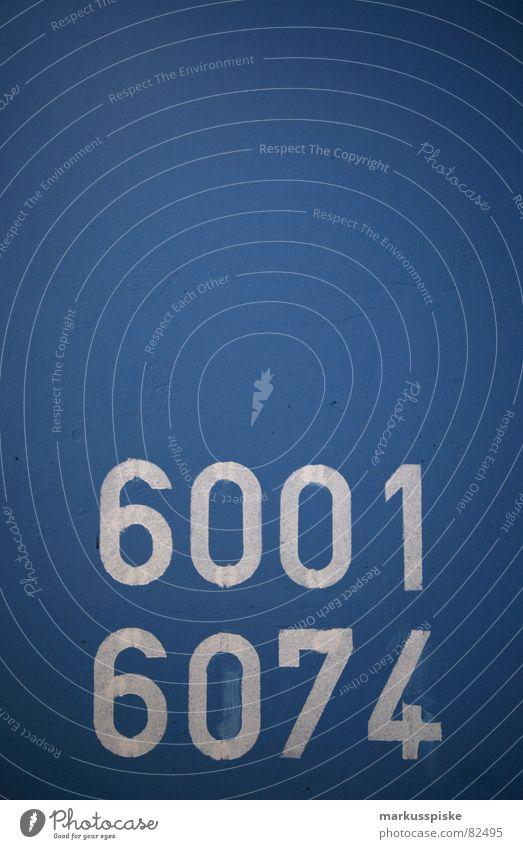 6001 - 6074 Parkhaus Wand Mauer Ziffern & Zahlen Typographie Schriftzeichen Text Etage KFZ Fahrzeug Flughafen parken blau Hinweisschild