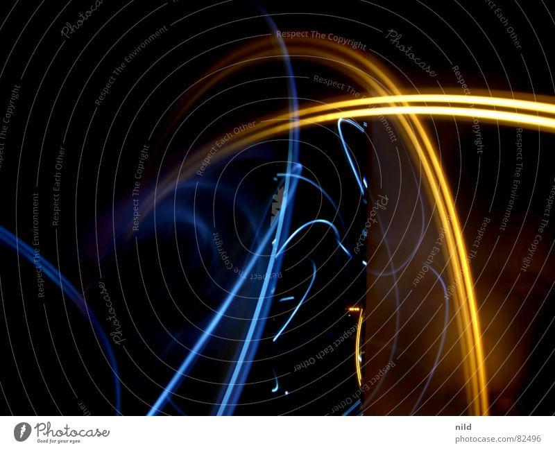 Langzeitlicht I blau rot schwarz dunkel Graffiti Hintergrundbild abstrakt Spiegel Lichtspiel Laser Lichtstrahl Wandmalereien blau-rot