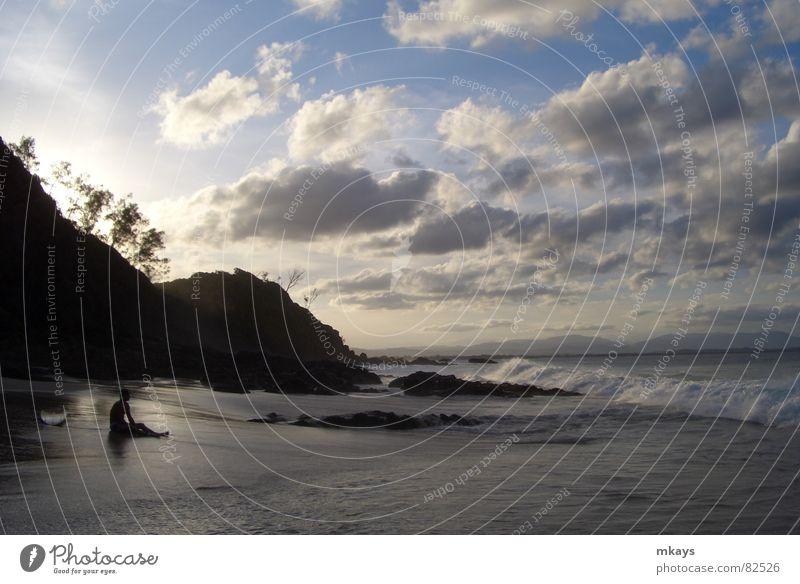 Welch ein Tag! Surfer Byron Delphine Meer Strand Ferien & Urlaub & Reisen Baum Wellen Freude Australien Wolken Sonne Nachmittag genießen Badestelle Abend