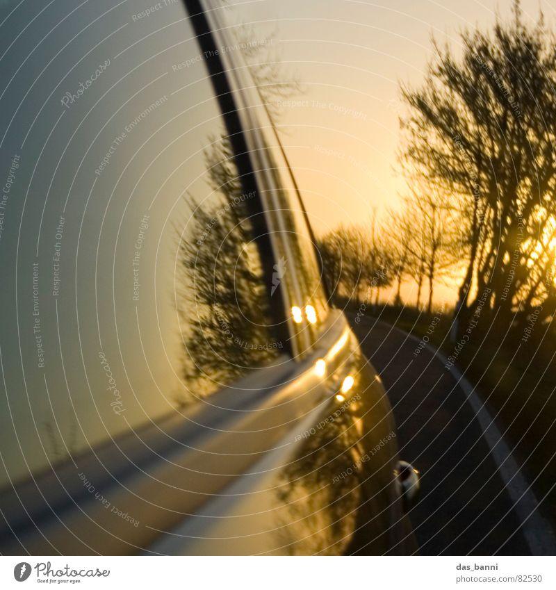 turn around ² Wagen Fernstraße Fahrtwind unterwegs Verkehrsmittel Geschwindigkeit Reflexion & Spiegelung Sonnenuntergang Physik Herbst kalt Baum Fenster
