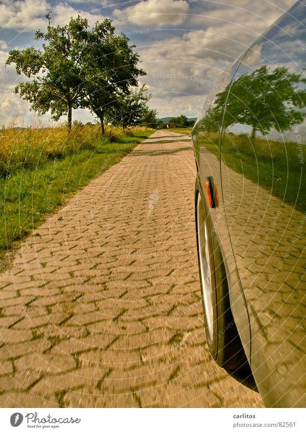 Airbrush ?  I Fußweg Baum Baumreihe fahren Kotflügel Reflexion & Spiegelung Spiegelbild Horizont Wolken grün Straßenbelag Beschleunigung PKW Geschwindigkeit