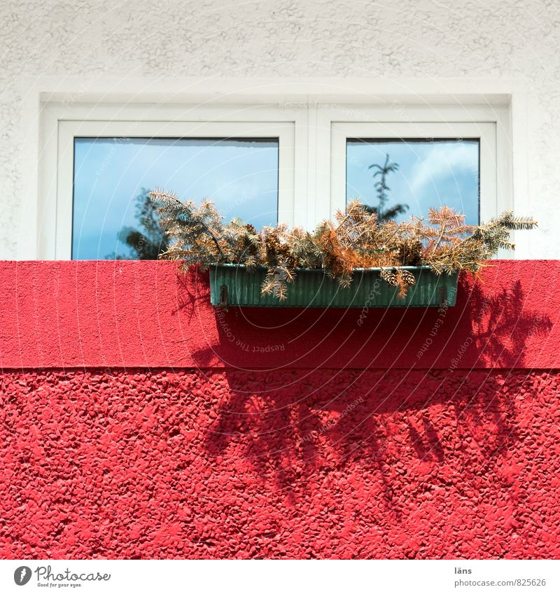 Sommer vor dem Balkon Häusliches Leben Wohnung Haus Hochhaus Bauwerk Gebäude Plattenbau Fenster Tür alt authentisch trist trocken rot weiß Wandel & Veränderung