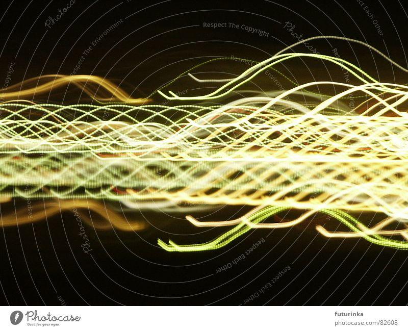 Lichtlandschaft durcheinander Wellen schwingen Gemälde Experiment Nacht Klassik Techno Ton schwarz gelb grün Stoff Zeit geheimnisvoll Physik Rauschmittel
