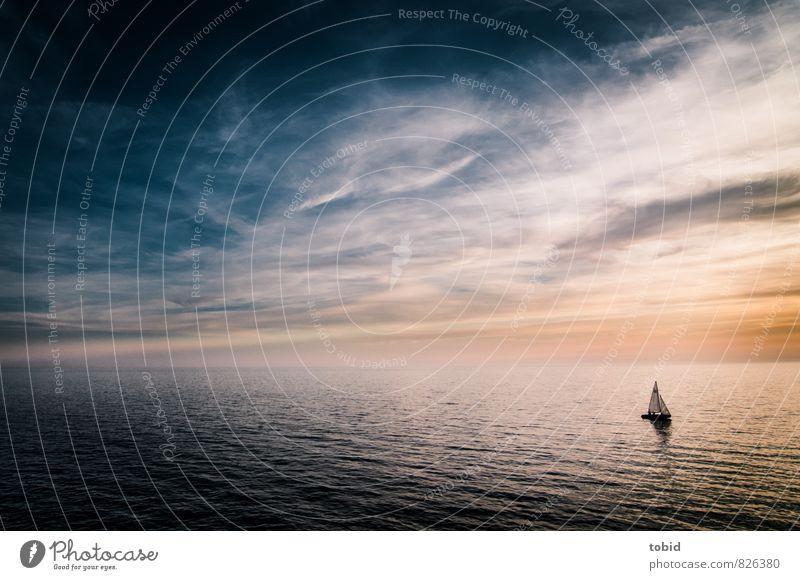 Freiheit Ferien & Urlaub & Reisen Ferne Segeln Urelemente Wasser Himmel Wolken Horizont Sonnenaufgang Sonnenuntergang Schönes Wetter Wellen Schifffahrt