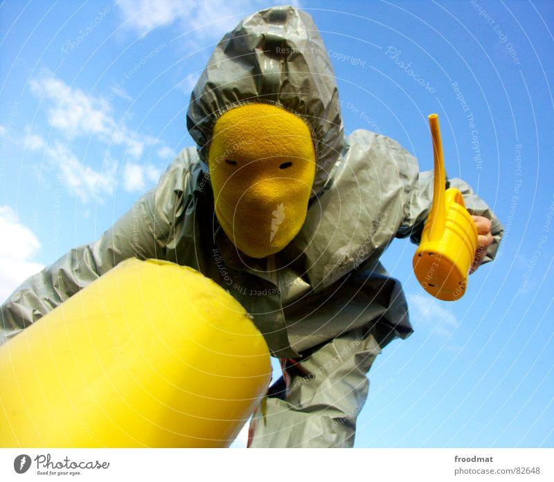 grau™ - Kanne gelb grau-gelb Anzug rot Gummi Kunst dumm sinnlos ungefährlich verrückt lustig Freude Kannen Gießkanne Wolken Kunsthandwerk froodmat Maske