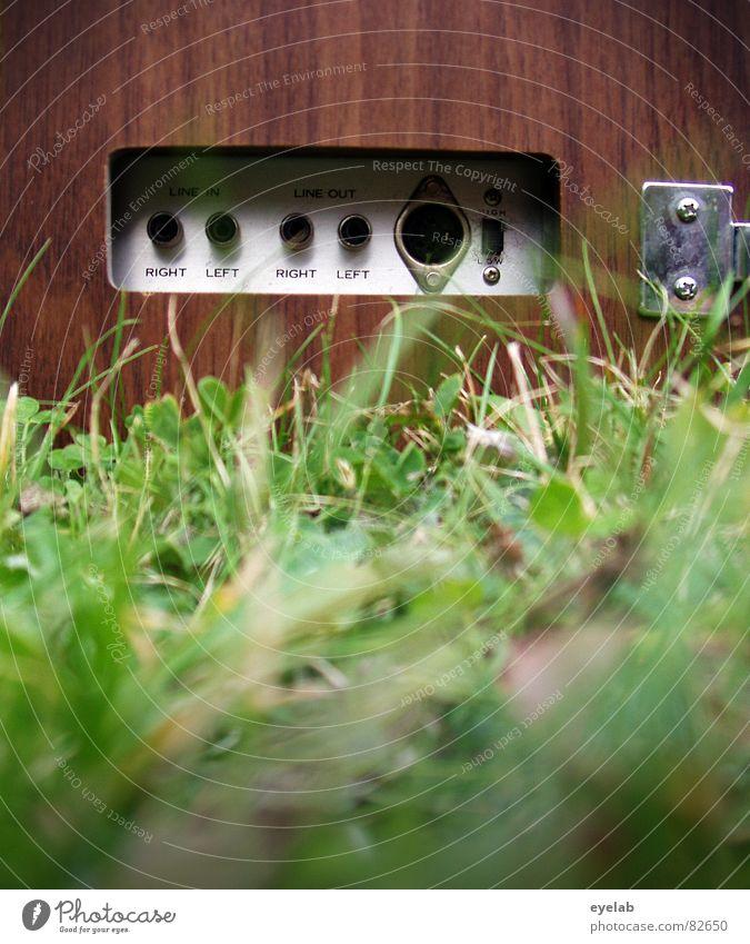 PLUG ME IN ! Holz Scharnier passieren Sommer Spiralkabel Kopfhörer Tonband grün Gras Schalter stereo mono stoppen Klang hören Medien Konzert Musik