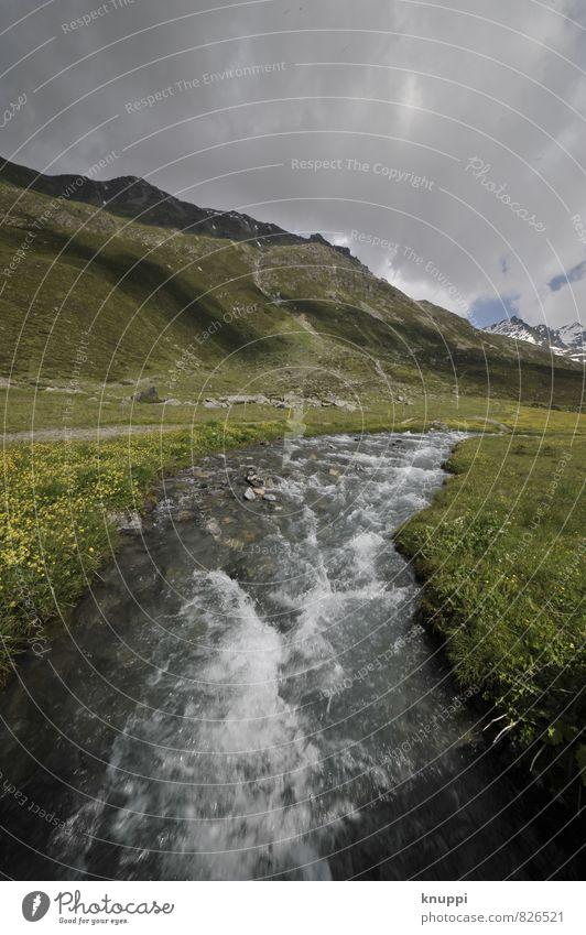 Gebirgsbach Himmel Natur Pflanze grün weiß Wasser Sommer Sonne Landschaft Wolken schwarz Umwelt Berge u. Gebirge Wiese Schnee Luft