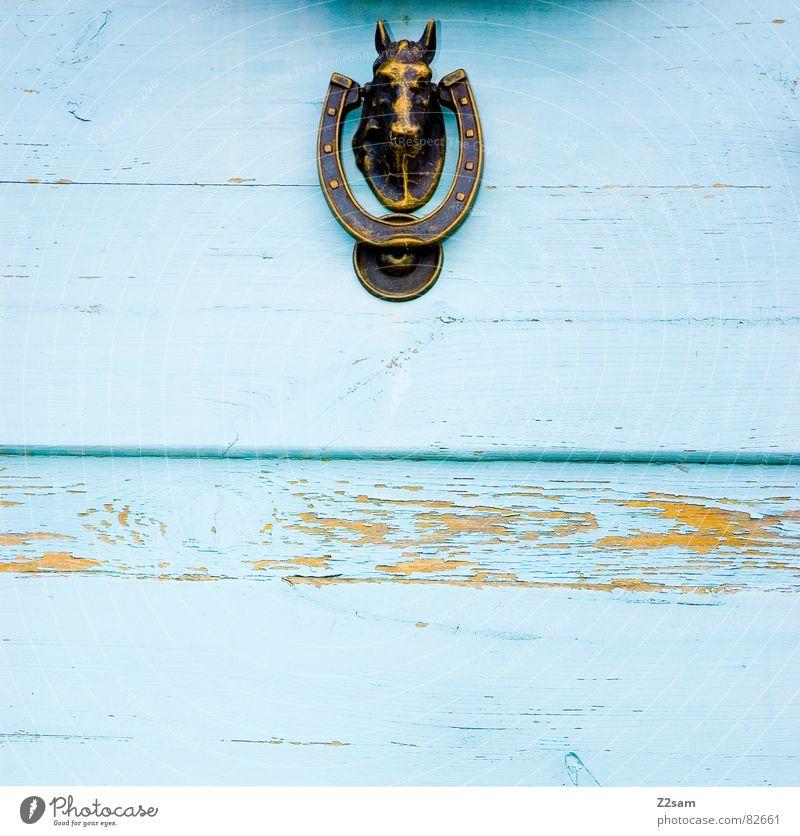 klopf, klopf Hufeisen Griff Pferdekopf ländlich Haus Eingang geschlossen Bronze glänzend Holz Holztür Streifen Linie Häusliches Leben Tür blau