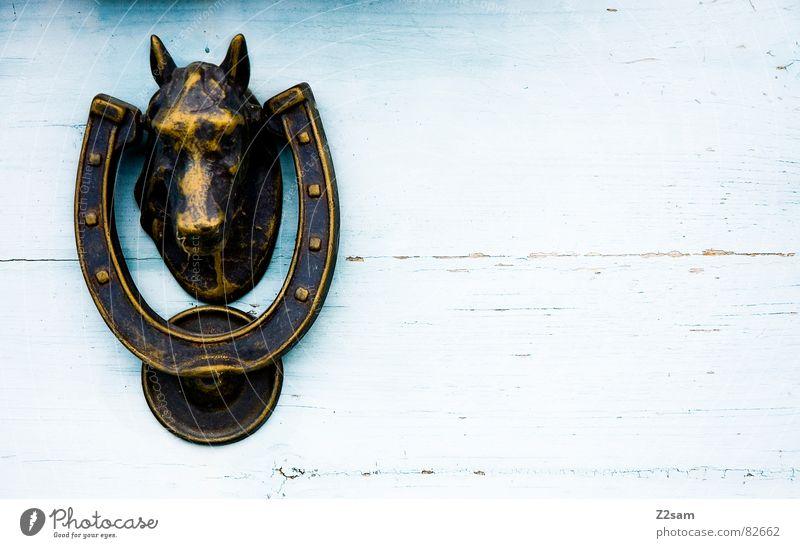 klopf, klopf II blau Haus Holz Linie Tür glänzend geschlossen offen Pferd Streifen Häusliches Leben Amerika Eingang Griff ländlich aufmachen