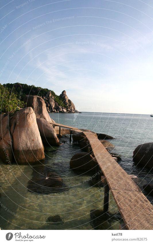 Catwalk in Thailand Ko Tao Laufsteg Steg Ferien & Urlaub & Reisen traumhaft träumen gehen tauchen Meer Asien Paradies Wege & Pfade Wasser Sonne