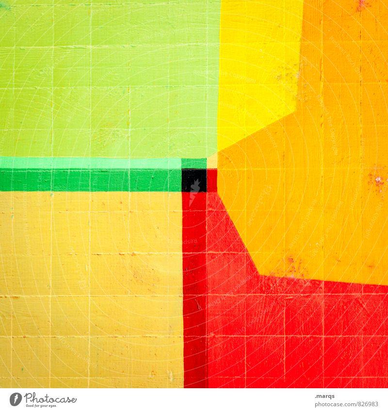 Polygon Mauer Wand Stein Linie Streifen Coolness trendy einzigartig gelb grün rot schwarz Farbe Doppelbelichtung Hintergrundbild Mosaik Farbfoto mehrfarbig