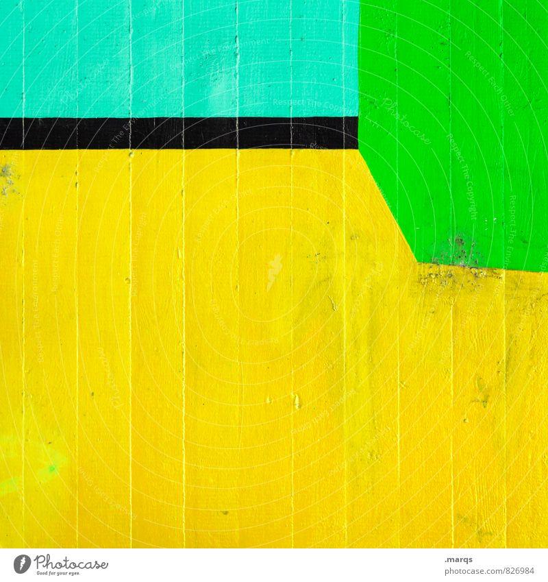 Unterm Strich Lifestyle elegant Stil Design Mauer Wand Linie ästhetisch außergewöhnlich Coolness einfach trendy einzigartig modern gelb grün türkis Farbe