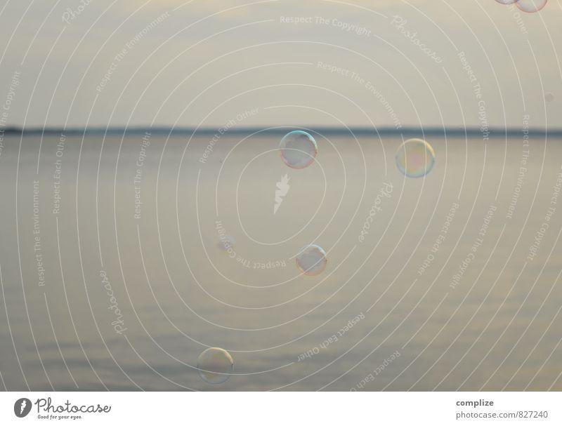 Seifenblasen Sonne Erholung ruhig Leben Küste Schwimmen & Baden See Horizont Wellen Zufriedenheit Luftverkehr Seeufer rein Wohlgefühl harmonisch Schweben