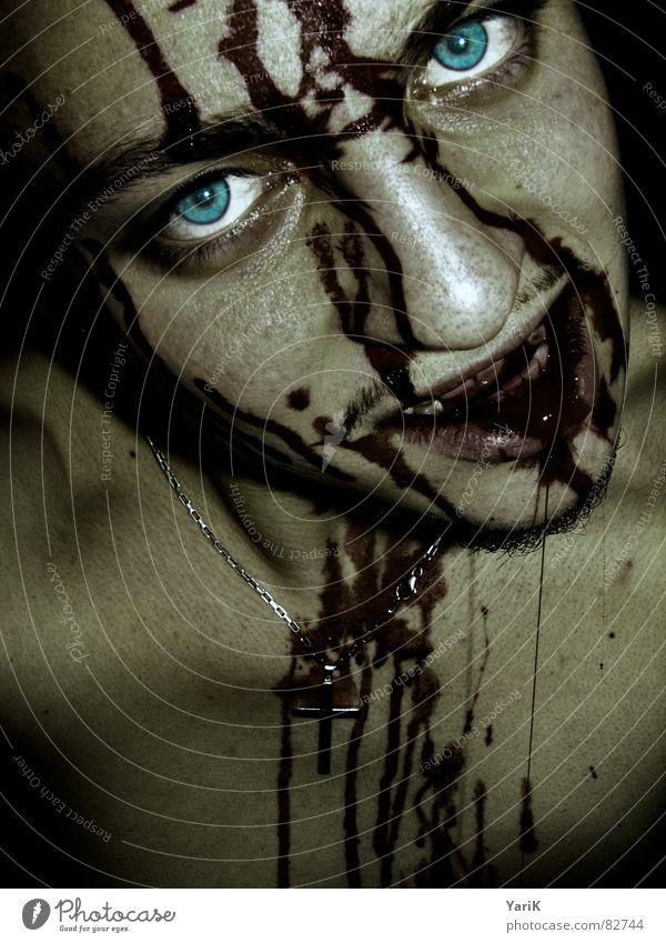 gegessen II dunkel grauenvoll böse Pupille Fantasygeschichte gruselig Schock Blut spucken Vampir zyan türkis Monster Teufel brutal hässlich töten Mörder Fressen