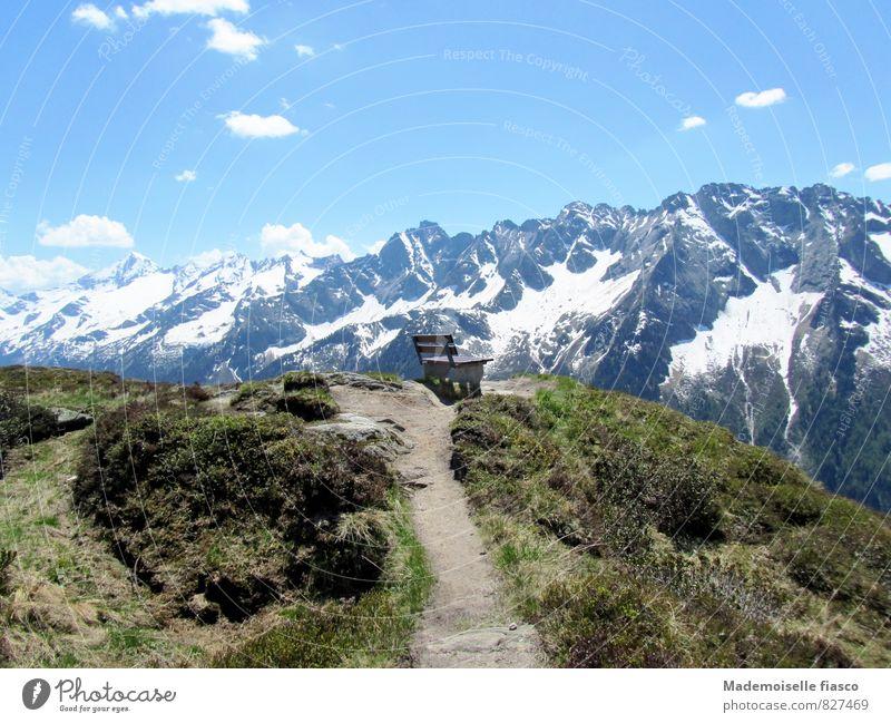 Bank auf Aussichtspunkt in den Bergen Ferien & Urlaub & Reisen Ausflug wandern Berge u. Gebirge Natur Landschaft Himmel Frühling Schönes Wetter Sträucher Hügel