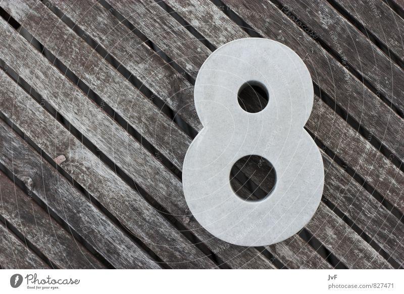 thca Beton Holz Zeichen Ziffern & Zahlen Linie Streifen braun grau acht achter geburtstag countdown eight Farbfoto Schwarzweißfoto Außenaufnahme