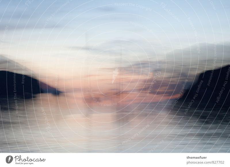 Abendstimmung Ferne Landschaft Erde Luft Wasser Horizont Sonnenaufgang Sonnenuntergang Sommer Schönes Wetter Küste Meer Insel Jacht Segelboot Segelschiff