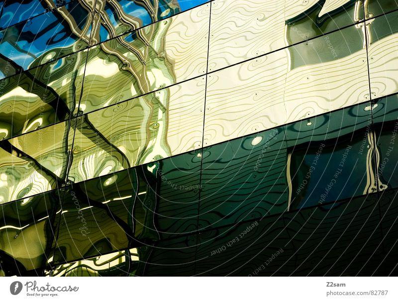 psychodelisch grün blau gelb Fenster Linie Wellen Glas verrückt Fassade Ecke Dinge Geometrie Fensterscheibe fließen graphisch Seele