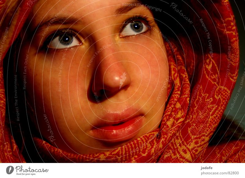 je t'aime Kopftuch rot gelb Muster Wimpern Lippen Wange Augenbraue verpackt umhüllen verdeckt Religion & Glaube Hoffnung Vertrauen Sicherheit Physik Licht