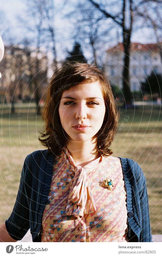 aristocrat Herbst Park Bekleidung Dame Porträt Siebziger Jahre Junge Frau