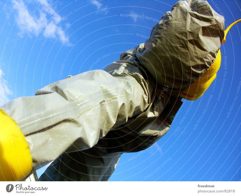 grau™ - himmelwärts gelb grau-gelb Anzug rot Gummi Kunst dumm sinnlos ungefährlich verrückt lustig Freude Kannen Gießkanne diagonal Wolken Kunsthandwerk