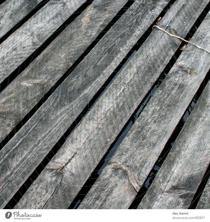 surface Charakter See ausgebleicht Holz Steg diagonal Gemälde Strukturen & Formen Untergrund Vogelperspektive Splitter Gewässer Angeln Wasserfahrzeug grau