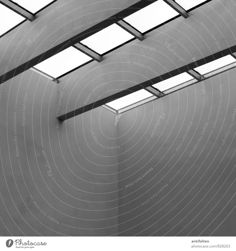 Die Kunst, Kunst zu lagern. weiß ruhig schwarz Fenster Wand Architektur Mauer Gebäude grau Kunst Metall Fassade Häusliches Leben Glas Tourismus Perspektive