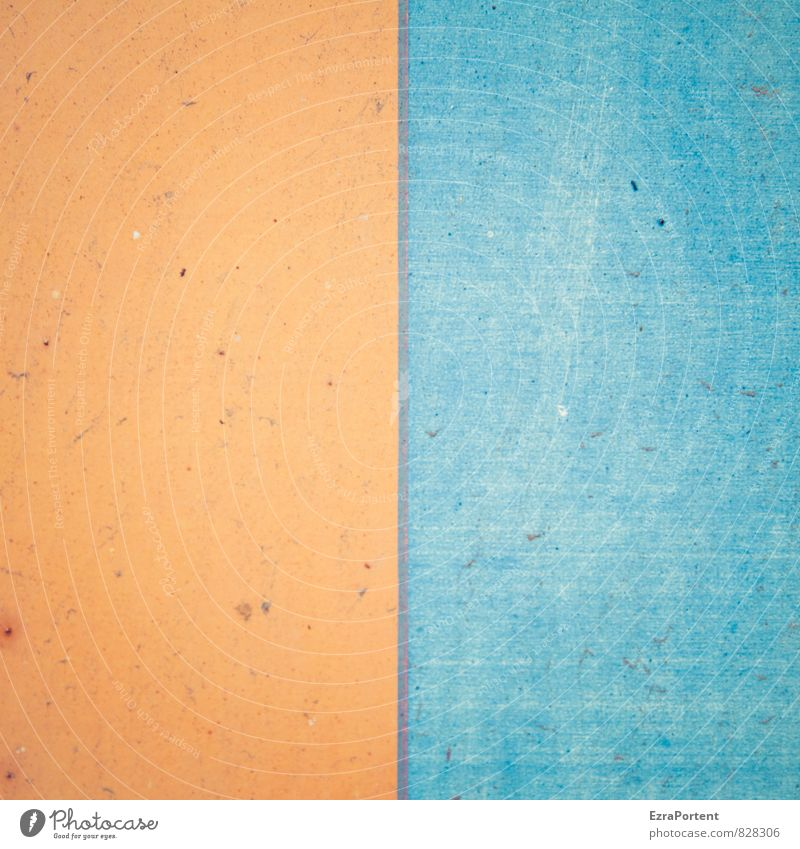 Kombination! blau Farbe Haus Wand Mauer Gebäude Stein Linie Fassade orange Design leuchten frisch ästhetisch Beton Grafik u. Illustration