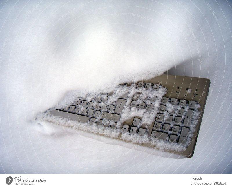 Snowboard Winter Schnee Technik & Technologie Computer kaputt Müll Tastatur Schneelandschaft bedeckt Informationstechnologie Schrott Schneesturm