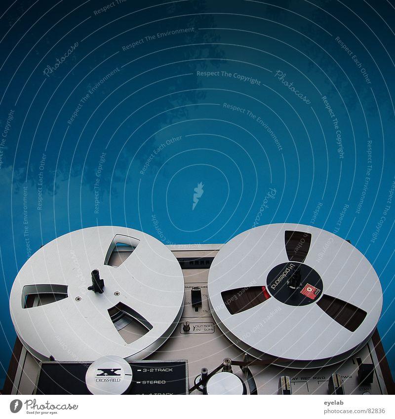 COOL POOL SOUND TOOL Tonband Tonbandgerät stoppen Schwimmbad Elektrisches Gerät Sommer retro stereo mono Reflexion & Spiegelung Baum hören magnetisch analog