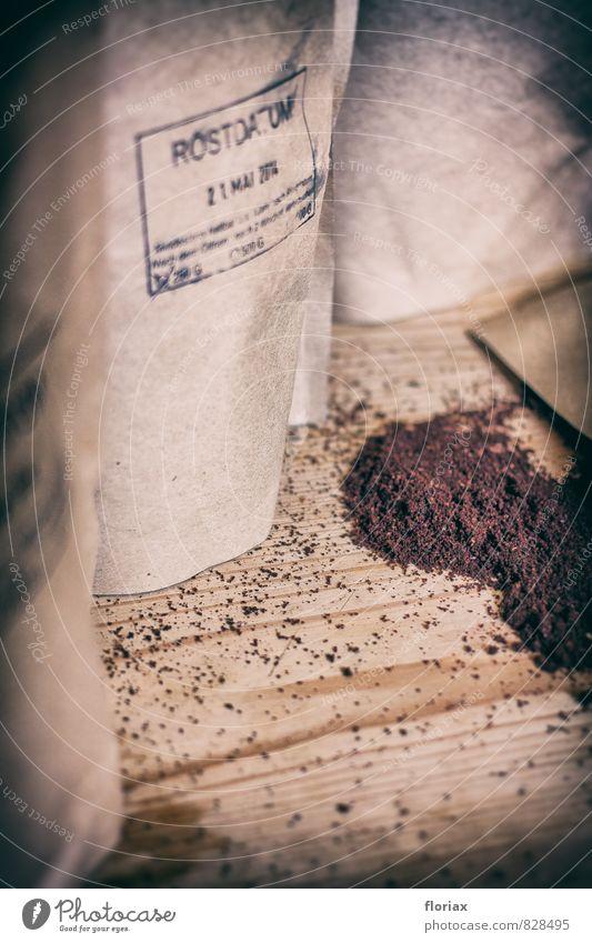 frisch geröstet und gemahlen Stil Lifestyle Holz Glück Lebensmittel braun Zufriedenheit ästhetisch genießen Lebensfreude Papier Kaffee Küche Wohlgefühl Duft