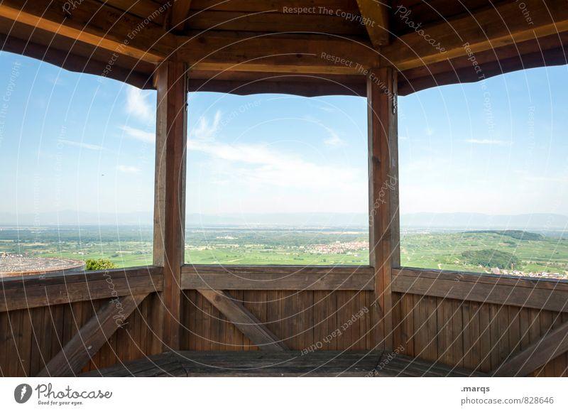 Rastplatz Ausflug Abenteuer Ferne Freiheit Natur Landschaft Himmel Wolken Horizont Sommer Schönes Wetter Feld Hügel Pavillon Erholung wandern hell schön