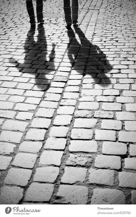Auf dem Weg. Mensch 2 Stadt Straße Hose Schuhe Pflastersteine Schatten Silhouette Stein Linie gehen sprechen ästhetisch einfach grau schwarz Gefühle