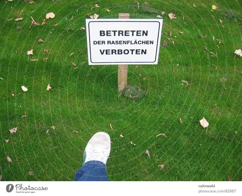 Betreten verboten! gesättigt grün Ordnung Rasen Schuhe Gift Wiese unnatürlich Verbote gefährlich eng Einschränkung Außenaufnahme Garten Park grünstreifig Fuß