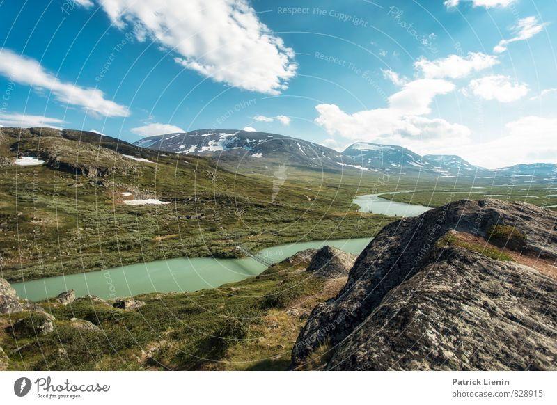 Alesjaure Himmel Natur Pflanze Sommer Sonne Landschaft Wolken Ferne Umwelt Berge u. Gebirge Freiheit See Felsen Luft Zufriedenheit wandern