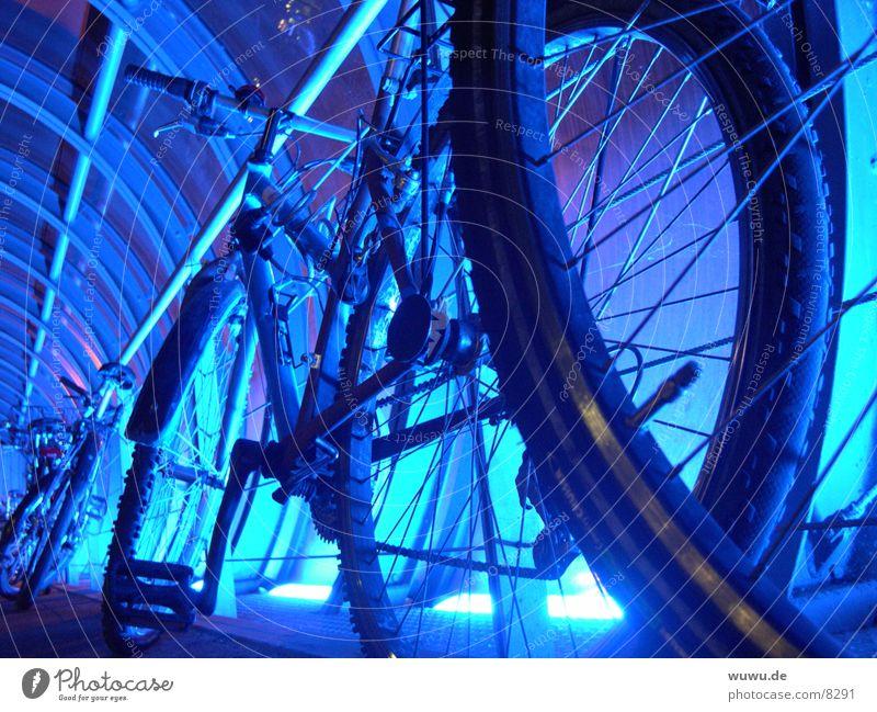 bluebikes Neonlicht Tunnel Fahrrad rund Silhouette Licht Nacht Elektrisches Gerät Technik & Technologie blau Eisenrohr Detailaufnahme Profil Glas