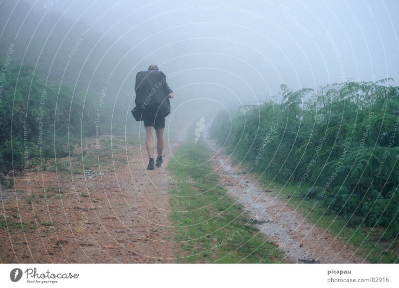 Wanderer im Nebel Brasilien wandern Nebelbank grau Einsamkeit planlos Rucksack Nebelschleier Herbst Südamerika Estrada Real Rucksacktourist wandervogel
