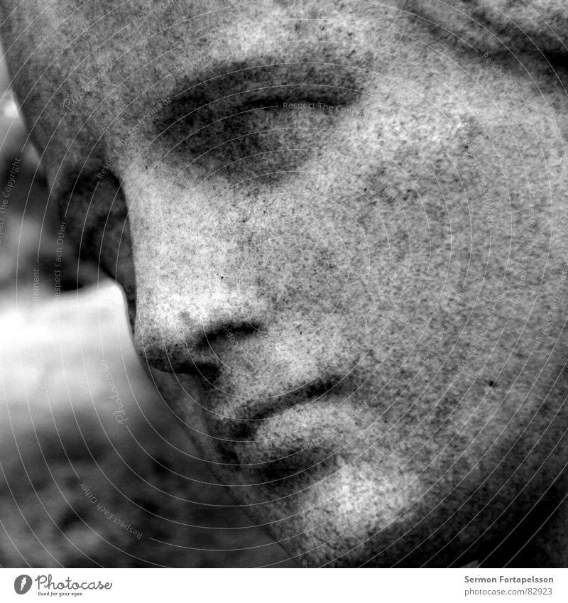 trauer Frau Gesicht ruhig schwarz Leben feminin Tod Stein Traurigkeit Perspektive Trauer Bild Vergänglichkeit Dame Statue Denkmal