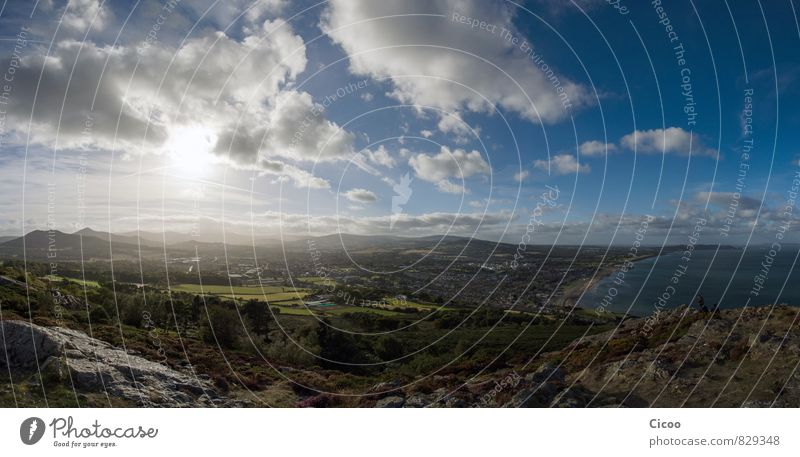 Ausblick Landschaft Erde Luft Wasser Himmel Wolken Horizont Sonne Sonnenaufgang Sonnenuntergang Wetter Schönes Wetter Wind Hügel Berge u. Gebirge