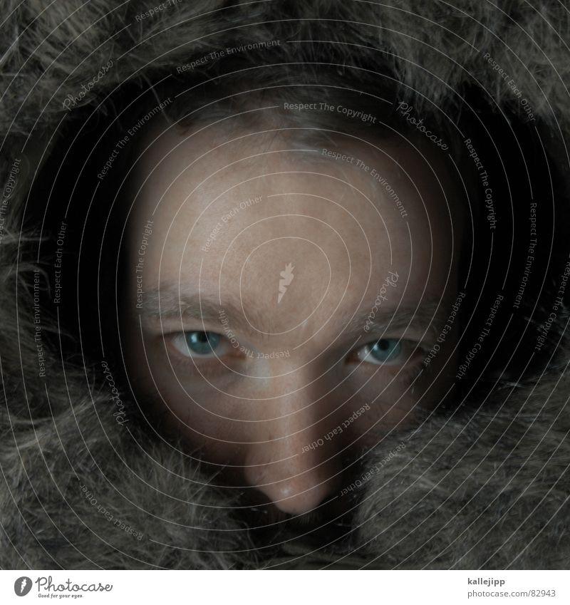 strassenköter Mensch blau Auge kalt Herbst Hund Haut Nase maskulin Fell Jacke Mütze Bart böse Held Kapuze