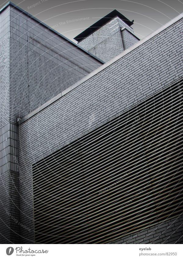Origami platzsparend Fenster Haus Gebäude Hochhaus Etage grau Beton abstrakt Konstruktion Gitter Wolken Geometrie komplex Architektur Dinge Himmel Bauhaus Reihe