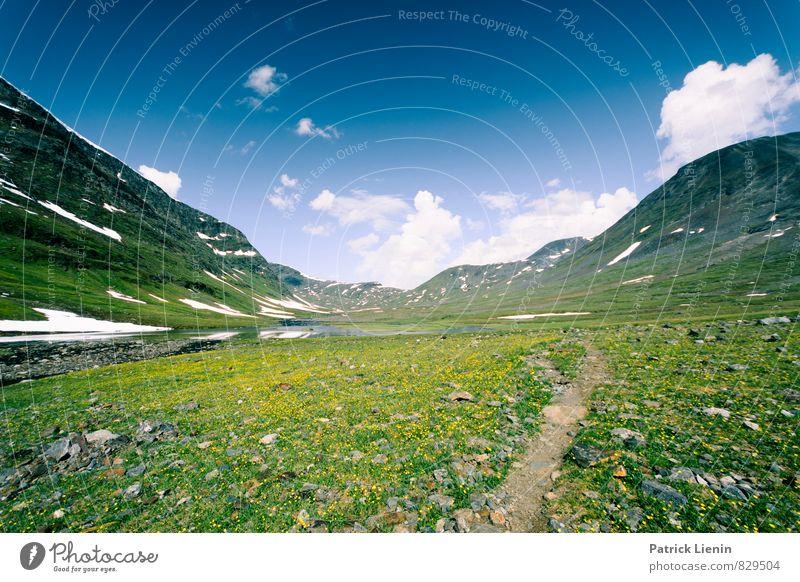 into the great wide open Himmel Natur Pflanze grün Erholung Landschaft Wolken ruhig Ferne Berge u. Gebirge Umwelt Wege & Pfade Schnee Freiheit Freizeit & Hobby