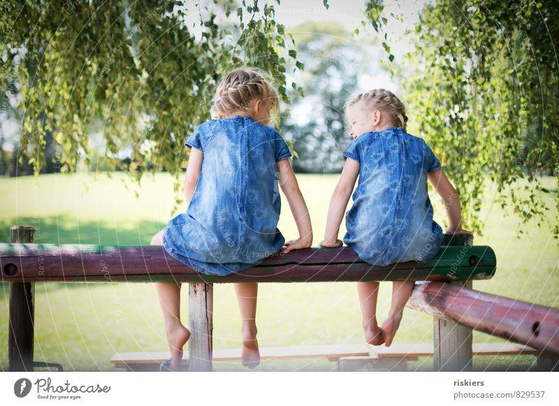 doppelte lottchen Mensch Kind Natur blau grün Sommer Erholung Mädchen Umwelt feminin sprechen natürlich Park Zusammensein Zufriedenheit blond